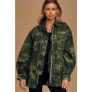 Free People Seize The Day Camo Utility Jacket NWT